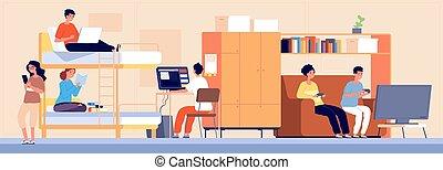 herberg, vector, dorm., accommodatie, student, alternatief, dormitory., spotprent, werkende , tiener, studerend , meisje, universiteit, jongen, illustratie, spelend