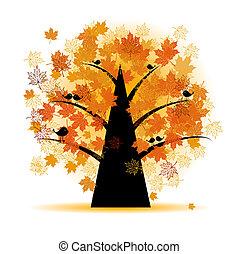 herfst, boompje, blad, esdoorn, herfst
