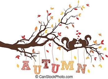 herfst, eekhoorns, vector, boompje