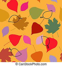 herfst, floral, bladeren, seamless, mal
