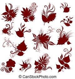 herfst, groot, set, vector, leafs.