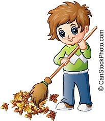 herfst, jongen, bezem, bladeren, spotprent