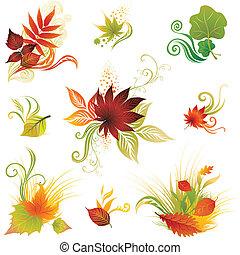 herfst, lea, set, vector, kleurrijke