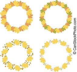herfst, lijstjes, set, vector, illustratie