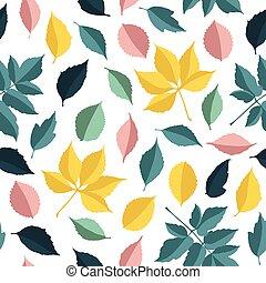 herfst, model, bladeren, vector, seamless