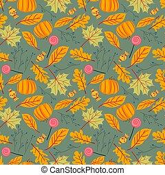 herfst, seamless, bladeren, model