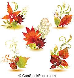 herfst, set, kleurrijke, vellen
