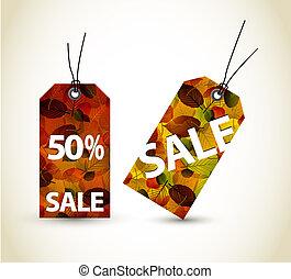 herfst, set, verkoop, vector, markeringen