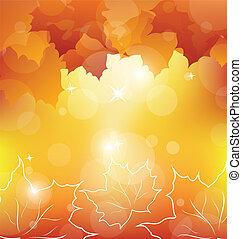 herfst, sinaasappel verlaat, esdoorn, achtergrond