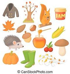 herfst, stijl, set, spotprent, iconen