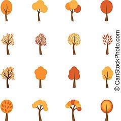 herfst, vector, set, bomen, illustratie