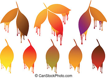 herfst, verf , bladeren, druppels