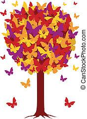 herfst, vlinder, bladeren, boompje