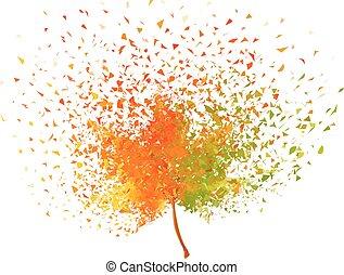 herfstblad, vector, kleurrijke
