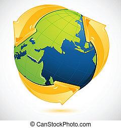 hergebruiken, aarde, symbool, ongeveer