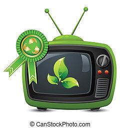 hergebruiken, televisie, badge