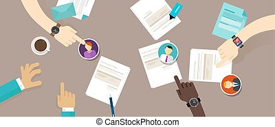 hervatten, proces, werving, bureau, werknemer, cv, selekteer