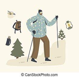 het genieten van, winter, backpacker, plakken, wandelende, schooltas, mannelijke , beklimming, warme, mountain., kleren, karakter