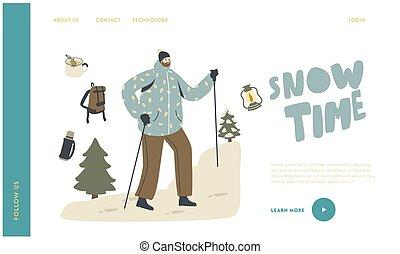 het genieten van, winter, berg, backpacker, plakken, wandelende, tussenverdieping, pagina, mannelijke , beklimming, schooltas, template., karakter