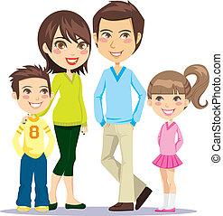 het glimlachen, gezin, vrolijke