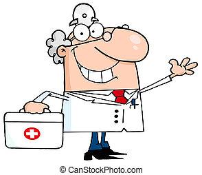 het glimlachen, mannelijke arts, zwaaiende