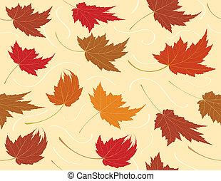 het herhalen, blad, seamless, achtergrond, herfst