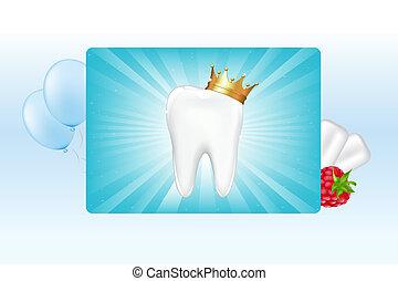 het kauwen, kroon, tandvlees, tand
