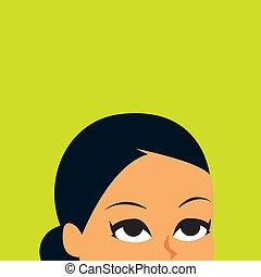 het kijken, vrouw, retro, illustratie, op
