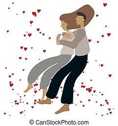 het knuffelen, paar, hearts., rood