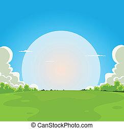 het opkomen van de maan, spotprent, achtergrond