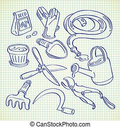 het tuinieren hulpmiddelen, doodle