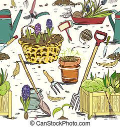 het tuinieren hulpmiddelen, seamless, achtergrondmodel