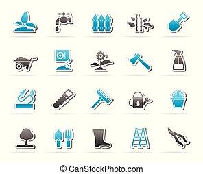 het tuinieren hulpmiddelen, tuin, iconen