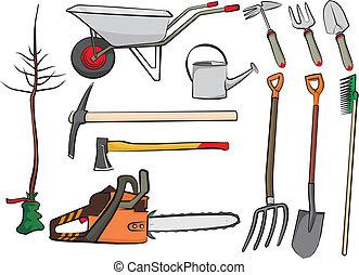 het tuinieren hulpmiddelen