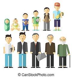 het verouderen, concept, mannelijke , karakters
