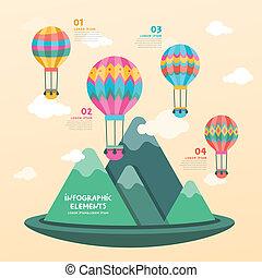 hete lucht, ontwerp, balloon, infographics