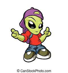 heup, spotprent, hop, alien.