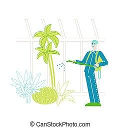 hobby., agricultuur industrie, mannelijke , orchard., landbouw, of, karakter, greenhouse., tuin, het verstuiven, meststoffen, aanplant, tuinman, planten, vector, arbeider, het geven, illustratie, lineair, groeiende