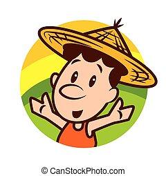 hoedje, farmer, welkom, stro, handen, achtergrond, karakter, natuur, schattig, vervelend, ronde, vector, spotprent, -