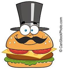 hoedje, het glimlachen, hamburger, cilinder