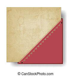 hoek, papier, oud, rode achtergrond