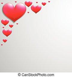 hoek, valentines dag, kaart, hartjes