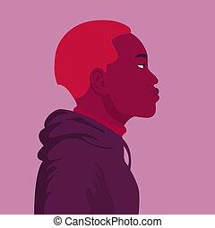 hoodie, afrikaan, verticaal