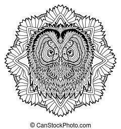 hoofd, concept., owl., dier, lijn, design.