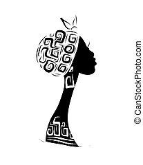 hoofd, silhouette, ornament, ontwerp, vrouwlijk, ethnische , jouw