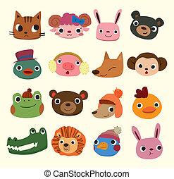 hoofd, spotprent, dier beelden