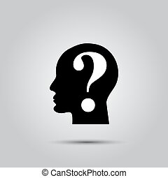 hoofd, vraag, menselijk, mark