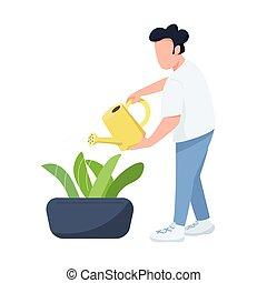 horticulturist, grafisch, spotprent, illustratie, character., kleur, planten, tuinman, care, vrijstaand, watering, vector, plat, mannelijke , man, flowerbed, web ontwerp, animatie, anoniem, groenteblik
