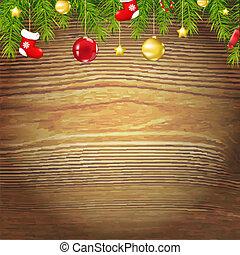 hout, kerstmis, achtergrond, speelgoed