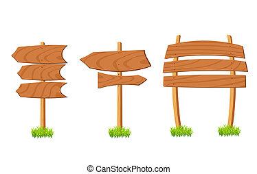 houten, abstract, set, meldingsbord